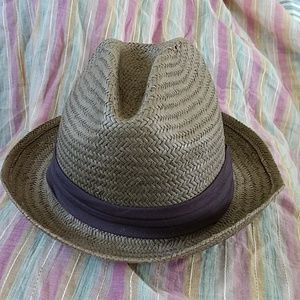 Old Navy Straw Fedora with Brown Accent Band